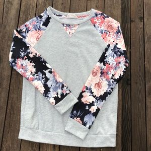 Crescent floral sleeve sweatshirt for Stitch Fix
